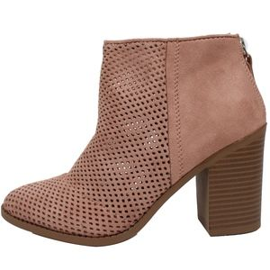 Dark Blush Perforated faux suede Stacked Heel Boot